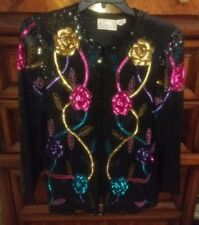 Vintage 80s 90s Rina Z Beaded Sequin Silk Blouse Sz. Large Black Sleeves Jacket