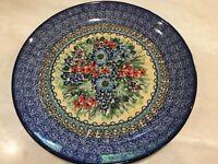 "C.A. POLISH POTTERY 10"" Dinner Plate- UNIKAT-# 4558-Floral-T. Liana-NEW"