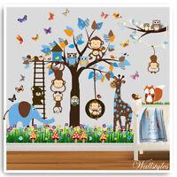 Owl Monkey Wall Stickers Animals Jungle Zoo Nursery Baby Kids Bedroom Decals Art