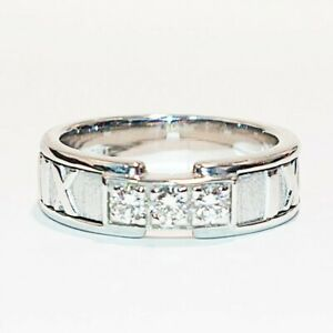 Tiffany & Co. K18Wg Diamond 3P Atlas Ring 6.5 White Gold There Is Resizing Mark