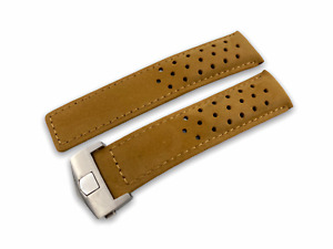 22mm Tan Genuine Suede/Leather Strap/Band fit Tag Heuer Carrera Watch