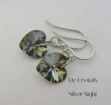 Earrings Made With Swarovski Silver Night Heart & Rhodium Plated Sterling Silver