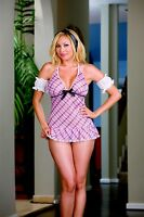 NEW PINK PLAID CHECK BABYDOLL & KNICKERS DREAMGIRL 6322 CHEMISE BACKLESS PRIVATE