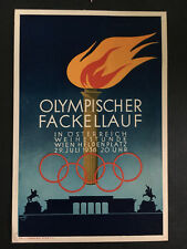 1936 Germany Austria Berlin Olympics Commemorative Postcard Cover Flame Torch 2
