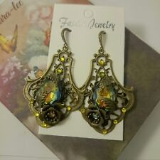 ARTISAN HANDMADE VINTAGE STYLE  WEST GERMANY CRYSTAL STONE DANGLING  EARRING