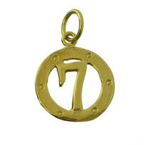 Gold plated Lucky #7 Seven Round Casino Horse Racing Jewelry Good Luck Charm