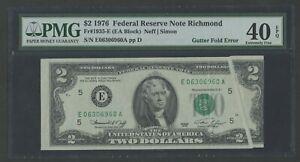 FR1935-E VAR $2 1976 FRN RICHMOND GUTTERFOLD ERROR PMG 40 EPQ CHOICE XF BU9986