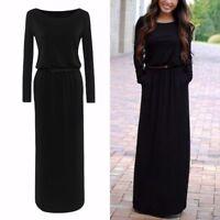 Women Casual Fall Winter Knit Long Sleeve Full-Length Maxi Dress Loose with Belt