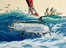 Tarpon Lagoon Jim Roberts Animal Fish Contemporary Print Poster 12x24