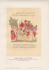 Arabische Karawane auf dem Marsche Arabien Kamele FARBDRUCK von 1906