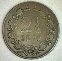 1898 Netherlands 2 1/2 Cent Coin Bronze Very Fine