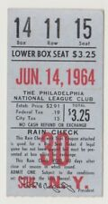 "PHILADELPHIA PHILLIES ""PHOLD"" TICKET STUB VS. NY METS 6/14/64 ALLEN HOME RUN"