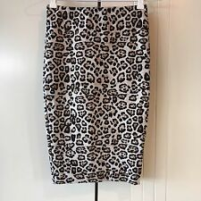 Womens Witchery Animal Print Back Hem Zip Up Bodycon Stretch Pencil Skirt Size 4