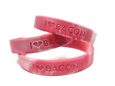 10 PACK- BACON LOVE WRISTBAND -I HEART BACON-RUBBER WRIST BAND SILICONE BRACELET