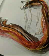 """Organza ribbon cord necklace 18"""" red orange brown yellow lobster clasp 8"""
