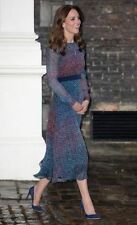 LK Bennett Addison Dress 100%Silk Jewel Toned Print Long Sl Size US 12 UK 16 NWT