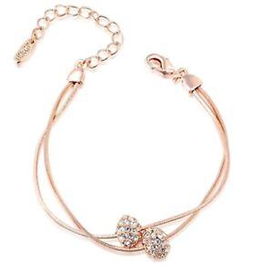Ladies Created Diamond 18K Rose Gold Filled Stylish Double Chain Ball Bracelet
