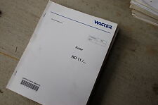 WACKER RD11 ROLLER Owner Operator Operation Manual Book User Safety COMPACTOR