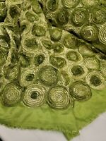 Green Gold Satin 3D Rosette Floral Fabric Sold By The Yard Tablecloths Dress