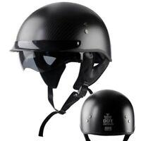 DOT Real Carbon Fiber Motorcycle Half Helmet w/Sun Visor Scooter Chopper Helmet