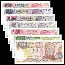 Argentina 1-1000 Pesos 1976-1985 year set 7PCS BrandNew Banknotes