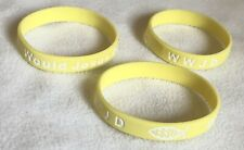3 Jesus WWJD Bracelet Fundraiser Wristband  Rubber/Silicone Arm Band Yellow