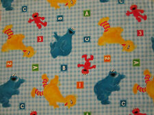 SESAME STREET ABC CHECKED BLUE FLANNEL FABRIC 15 Inch Scrap Cut