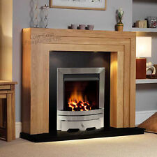 GAS OAK SURROUND BLACK GRANITE MODERN SILVER FIRE FIREPLACE LARGE LIGHTS 54""