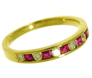 R165 Genuine 9K or 18K Gold Natural Diamond & Ruby Ring Eternity Wedding Band