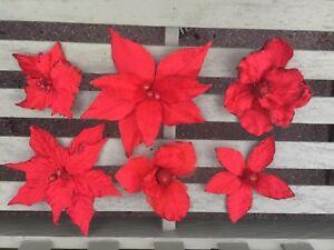 24 Clip on Christmas Poinsettias & Magnolia's