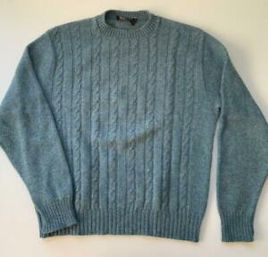 Vintage Jantzen Men's Large Cable Knit Wool Winter Blue Sweater Made in USA