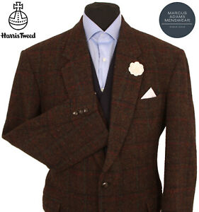 Harris Tweed Jacket Blazer 44R Country Windowpane Check Hacking Hunting Sports