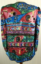 Vintage 80s Beaded Sequin Silk Jacket Dressy Topper Ornate Colorful Cocktail EXC