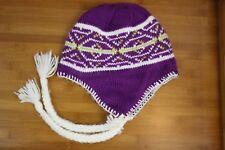 Columbia Purple Knit Beanie - W/ Tassels - Fleece Lined -O/S