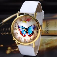 Butterfly Trendy Gold Stainless White Leather Dress Fashion Quartz Women Watch