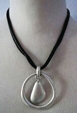 T3 Premier Designs EASY LIVING 4 way Silver plated black leather Necklace RV$49