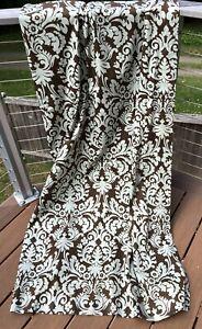 1 Waverly Essence Curtain Panel Brown & Light Sage Green Damask Cotton 87 x 49
