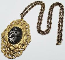 Tiered Gold Plate Pendant Necklace Antique Victorian Carved French Jet Ornate