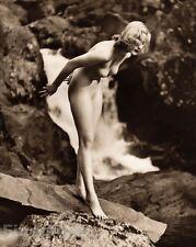 1940 Original BLONDE FEMALE NUDE Rocks Waterfall England Art Deco ~ JOHN EVERARD