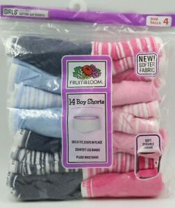 Fruit of the Loom Girls 14 Pack Multi Color Tag Free Boy Shorts Underwear Size 4