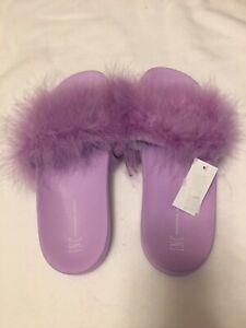 INC Footwear Marabou Pool Slide Purple Size S US 5/6
