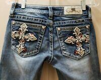 "Miss me Chloe boot cut Denim Jeans. 25X31 Rise 8"" Waist Measure 14""  Distressed"