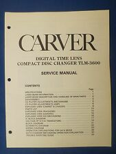 CARVER TLM-3600 CD SERVICE MANUAL ORIGINAL FACTORY ISSUE THE REAL THING