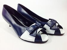 Large Size Ladies SHOES OF PREY Blue White Kitten Shoes Size 11 PLUS SIZE