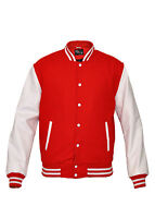 Varsity RED Wool Letterman Jacket Real White Leather Sleeves