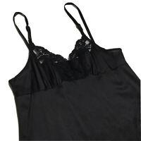 Vintage Vassarette 34 Black Silky Nylon Lace Full Slip Gown Sissy Lingerie USA