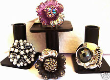 Set of 4  COCKTAIL RINGS SILVER .BLACK.PURPLE . PEARL ALL NEW Sz 7 &9 USA