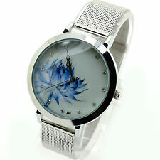 Armbanduhr Damenuhr Lotusblume Strass Analog Damen Mädchen Metallarmband Uhr NEU