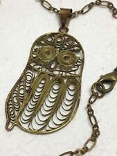 Antique Filigree Owl with 15 Inch Chain Vintage Hand Made