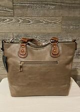"Women's Brown Lg Top Zip Leather Tote Shoulder Bag 11""L 5 1/2 W 11"" H W/ Sm Bag"